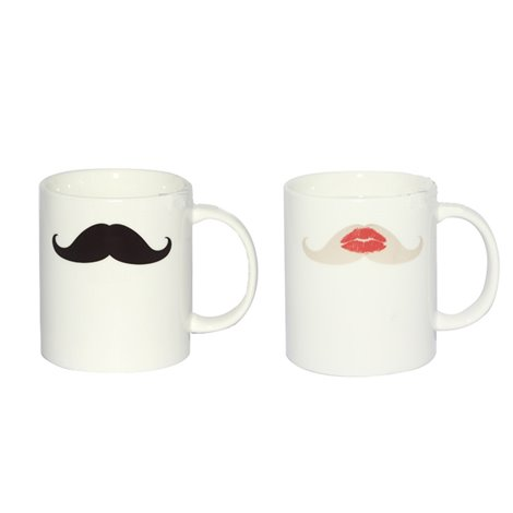 Taza mágica bigote por labios